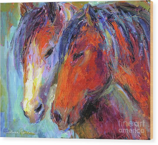 Two Mustang Horses Painting Wood Print