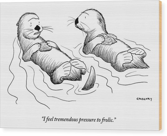 Two Otters Laying On Their Backs. One Is Speaking Wood Print