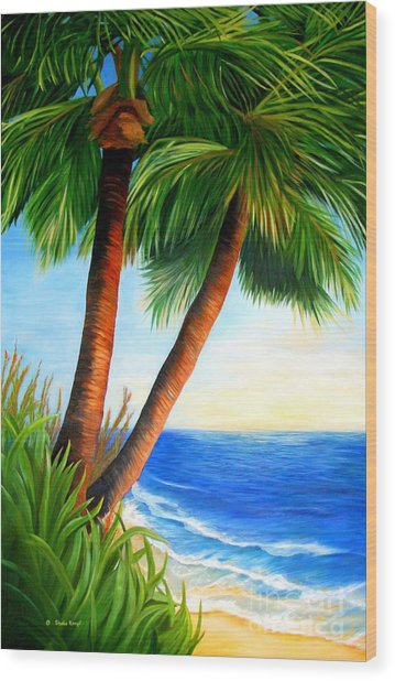 Two Palms Wood Print