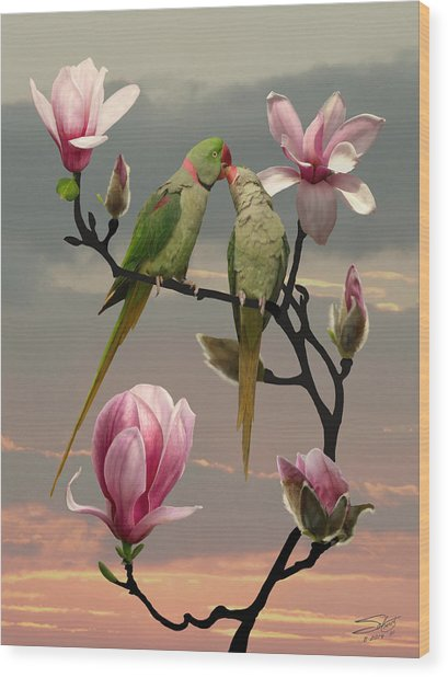 Two Parrots In Magnolia Tree Wood Print