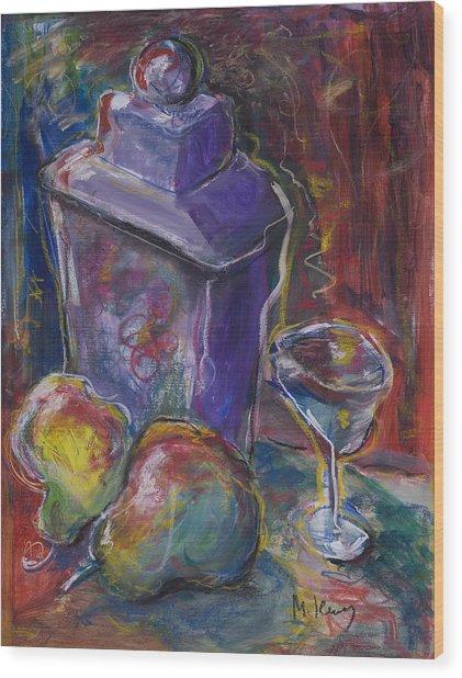 Two Pears And A Purple Jar Wood Print