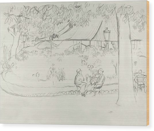 Two People At A Small Park Wood Print