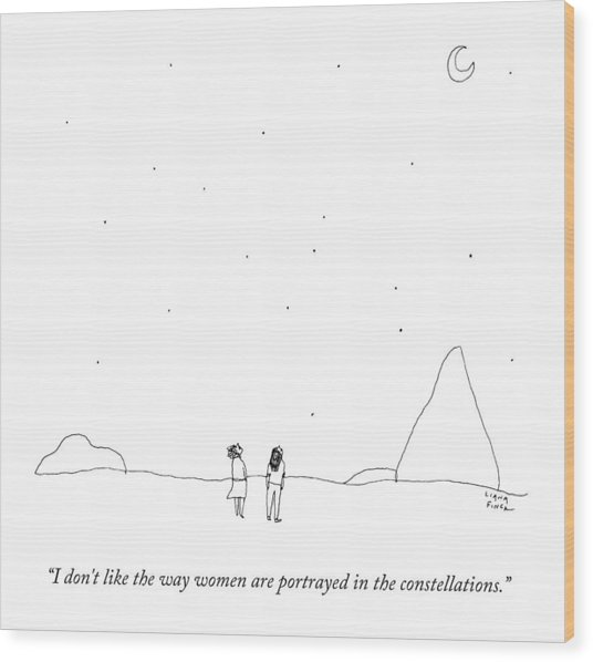 Two People Look At The Stars Wood Print