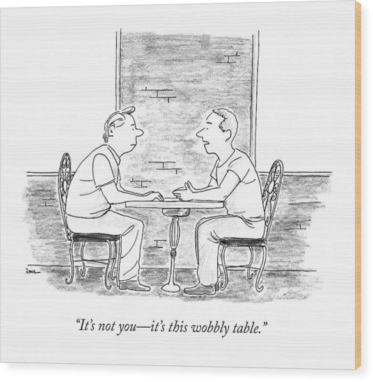 Two People Sit At A Table Wood Print