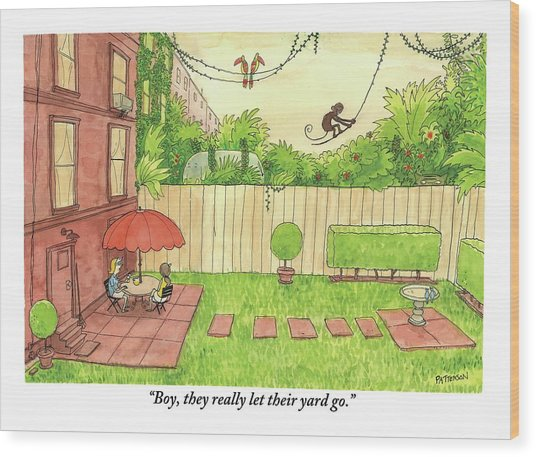 Two People Sitting On Their Back Patio Wood Print