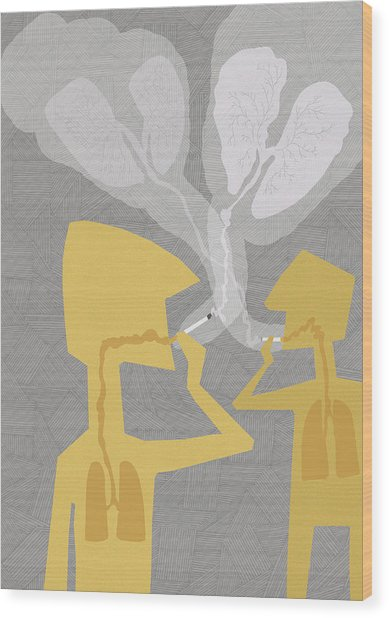 Two People Smoking Cigarettes Wood Print by Fanatic Studio / Science Photo Library