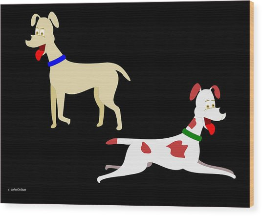 Two Pet Dogs Wood Print