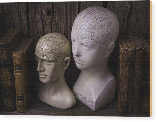 Two Phrenology Heads Wood Print