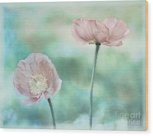 Two Poppies Textured Photograph Wood Print by Clare VanderVeen