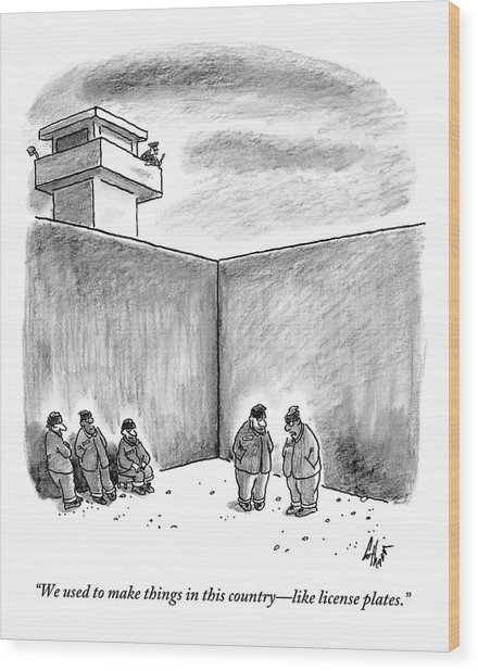 Two Prisoners Talk In The A Prison Yard Wood Print