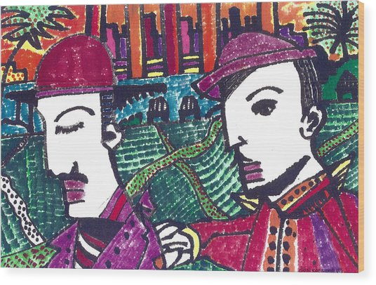 Two Rabbis In Miami Wood Print