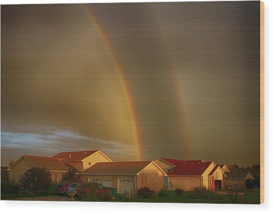 Two Rainbows Plus Two Pots Of Gold Wood Print