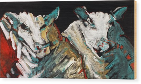 Two Rams Wood Print