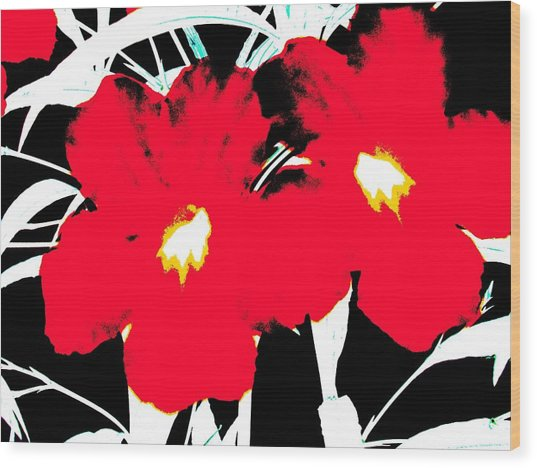 Two Red Jack Flowers Wood Print