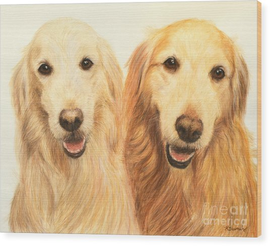 Two Retrievers Painted Wood Print