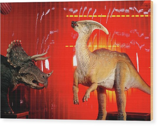 Two Robotic Dinosaurs Wood Print by Peter Menzel, Dinamation/science Photo Library