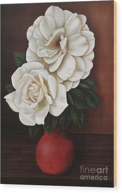 Two Roses Wood Print