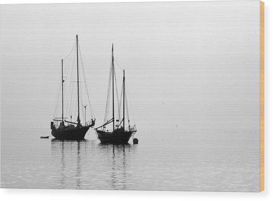 Two Ships In The Fog Wood Print