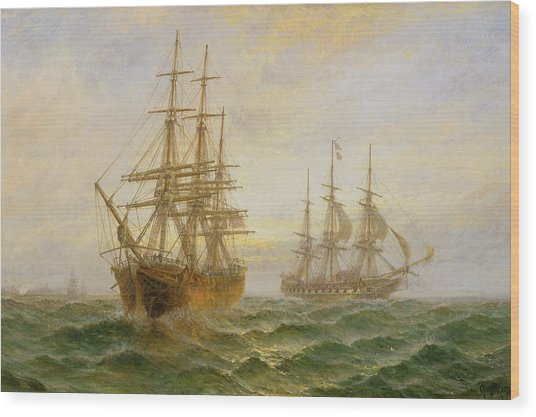 Two Ships Passing At Sunset Wood Print