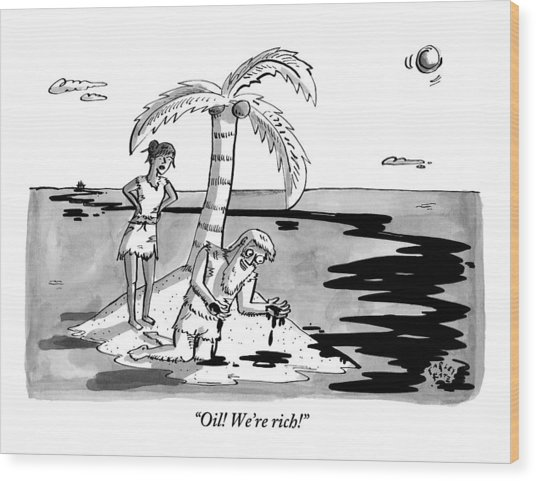 Two Shipwrecked Men Are On An Island With A Big Wood Print