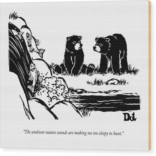 Two Sluggish Bears Converse By A Fish-filled Wood Print