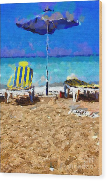 Two Sun-chairs And Umbrella Painting Wood Print by Magomed Magomedagaev