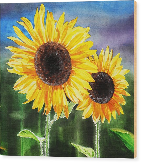 Two Suns Sunflowers Wood Print
