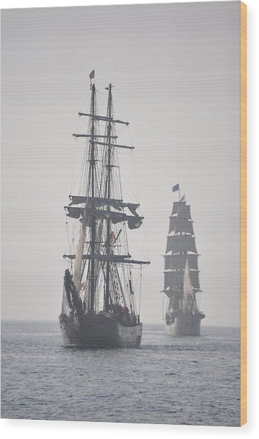 Two Tall Ships In Door County Wood Print
