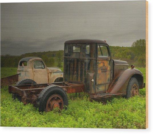 Two Trucks Wood Print