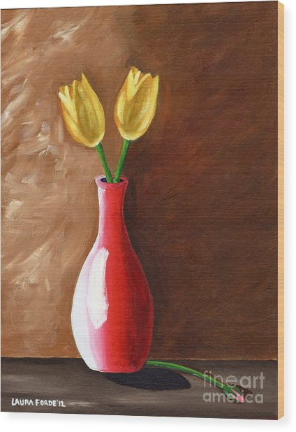Two Tulips And A Pink Rose Wood Print