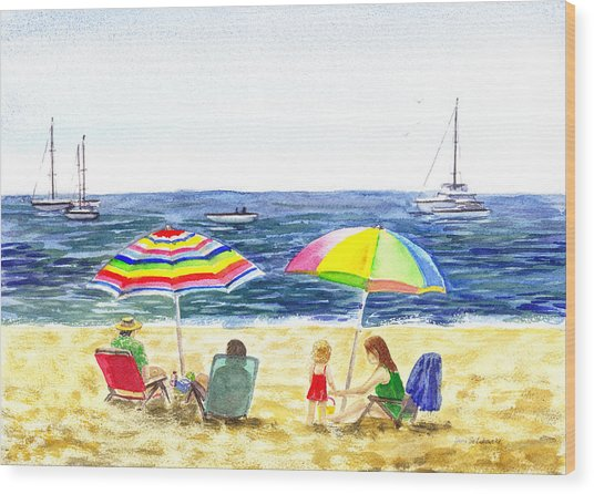 Two Umbrellas On The Beach California  Wood Print