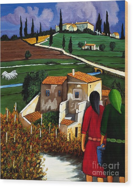 Two Women And Village Sheep Wood Print