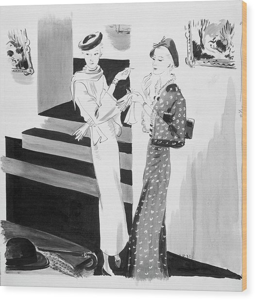 Two Women Applying Their Makeup Wood Print by Jean Pages