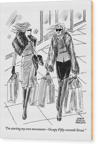 Two Women Dressed Nicely Walk Together Carrying Wood Print