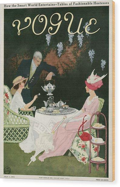 Two Women Drinking Tea Wood Print
