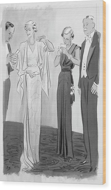Two Women In Evening Gowns With Older Men Wood Print by Eduardo Garcia Benito