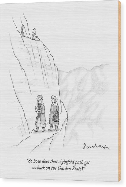 Two Women Walk Down From The Guru On The Mountain Wood Print