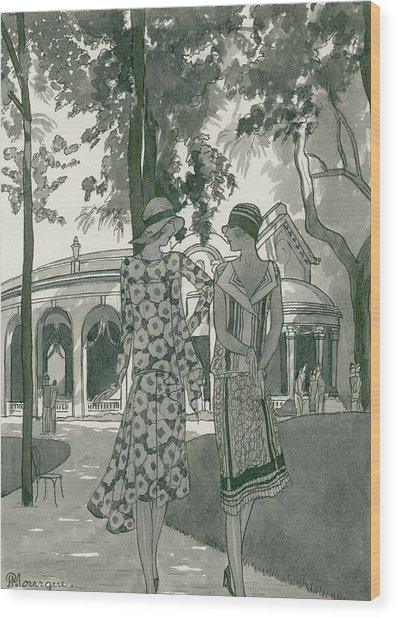 Two Women Walking In A Park Wood Print by Pierre Mourgue