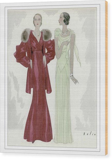 Two Women Wearing Jay-thorpe And Bendel Dresses Wood Print by William Bolin