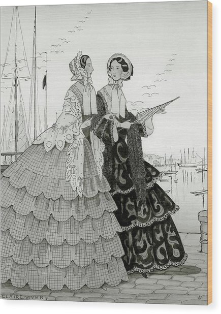 Two Women Wearing Large Dresses With Hoop Skirts Wood Print by Claire Avery