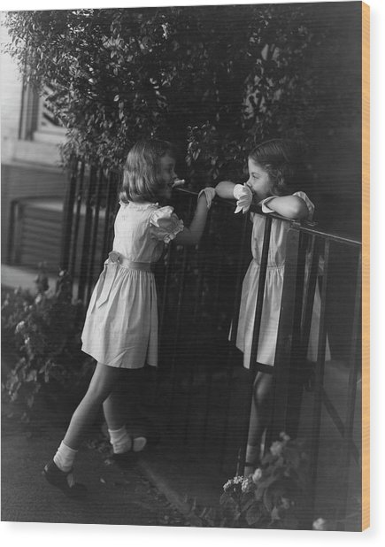 Two Young Girls Wood Print