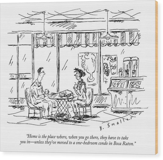 Two Younger People Speak At A Coffee Shop Wood Print