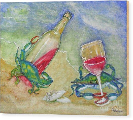 Tybee Blue Crabs Tipsy Wood Print