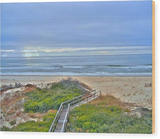 Tybee Island Beach And Boardwalk Wood Print