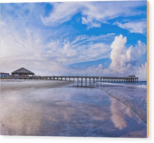 Wood Print featuring the photograph Tybee Island Pier On A Beautiful Afternoon by Mark E Tisdale