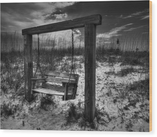 Wood Print featuring the photograph Tybee Island Swing 003 Bw by Lance Vaughn
