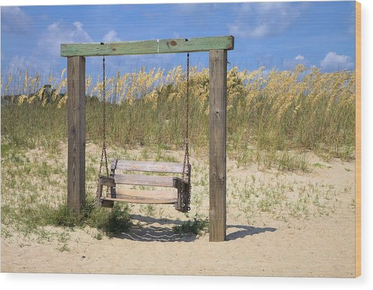 Tybee Island Swing Wood Print