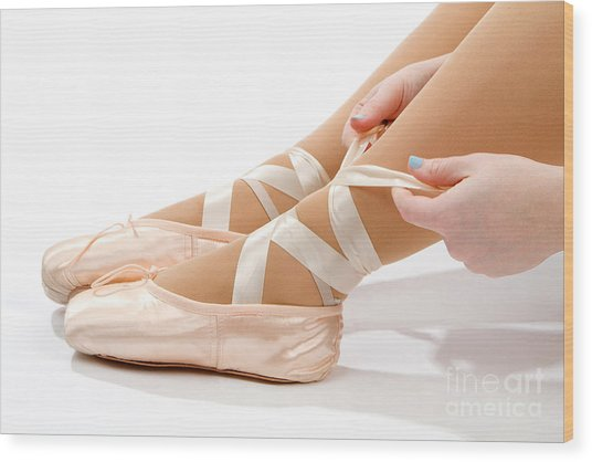 Tying Ballet Slippers Wood Print