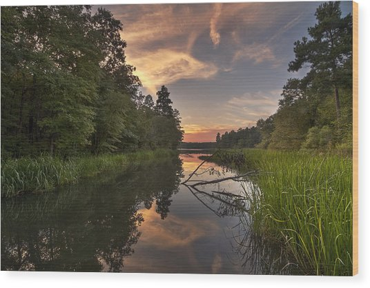 Tyler State Park Lake At Sunset Wood Print