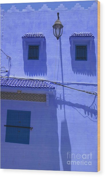 Typical Blue Facade In The Medina Of Asilah On Northwest Tip Of Atlantic Coast Of Morocco Wood Print by PIXELS  XPOSED Ralph A Ledergerber Photography